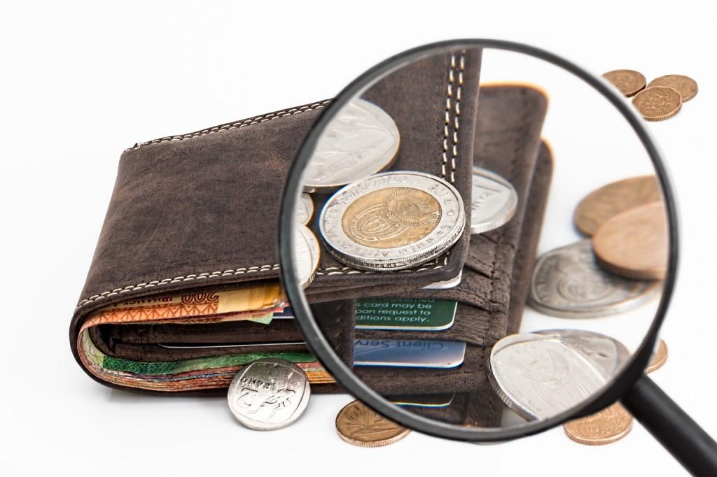 Eine Lupe zeigt ein Portmonee und Geld.
