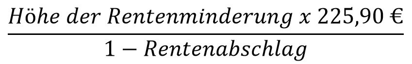 Das Bild zeigt eine Formel, mit der sich ab dem 01.01.2019 bis zum 30.06.2019 die Höhe der maximal möglichen Ausgleichszahlung für Rentenabschläge berechnen lässt.